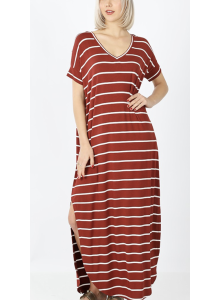 STRIPE MAXI DRESS WITH POCKET