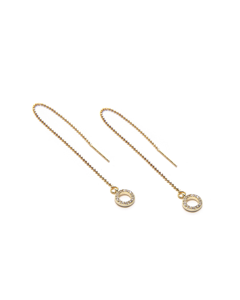 GLITTERY CIRCLE MICRO CHAIN THREADER EARRINGS