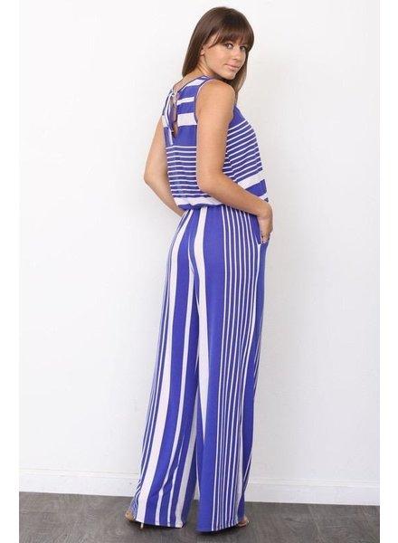 Sleeveless Stripe Drawstring Jumpsuit