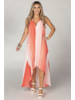 coral stripe hi low dress