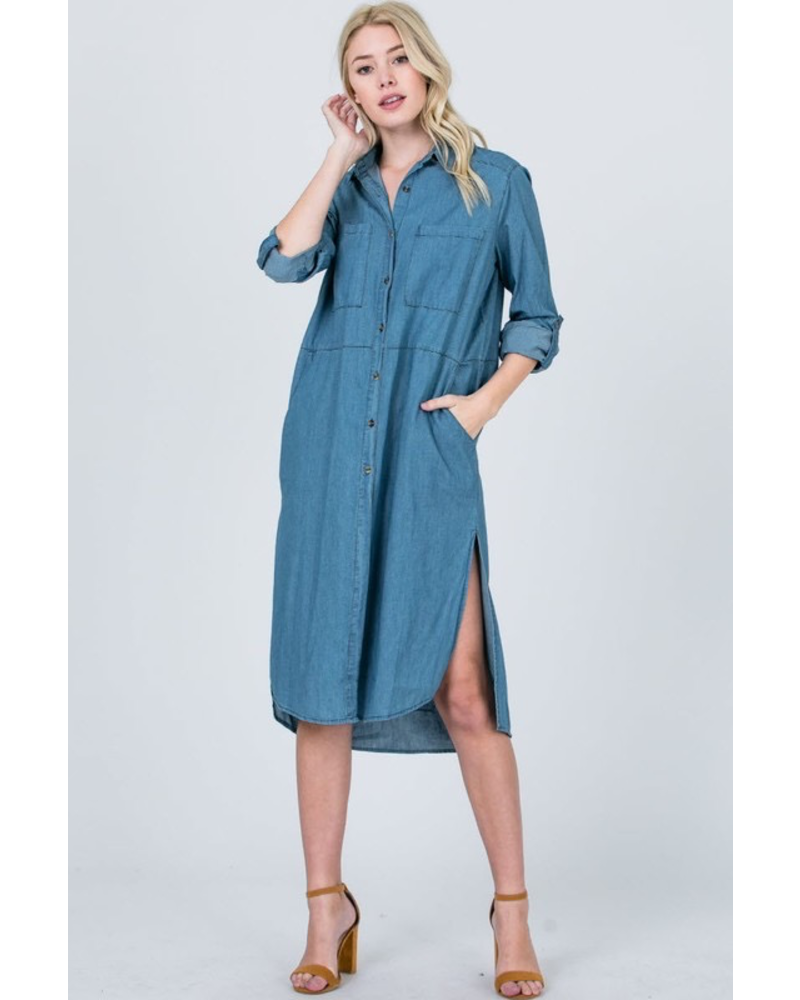 Chambray Roll-Up Sleeves Button Up Dress