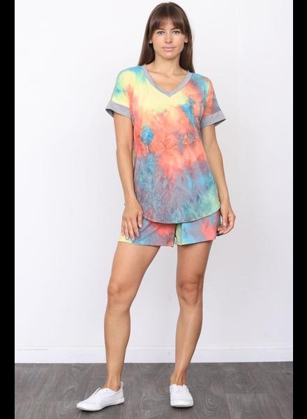 Plus Tie Dye Shirt & Shorts Set