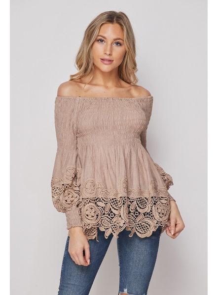 Women Woven Off Shoulder Top With Lace Hem