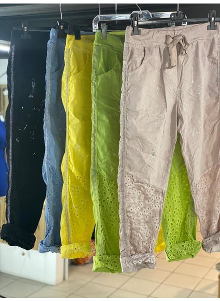 womens trousers with lace work detal one size
