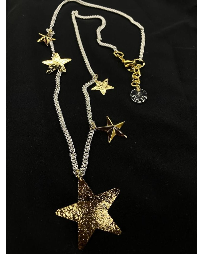 multi star long necklace by 4 soles