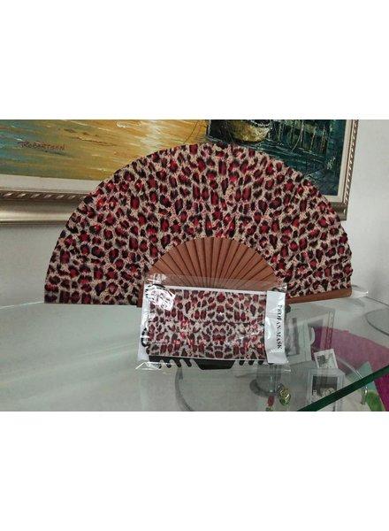 abanico animal print rojo