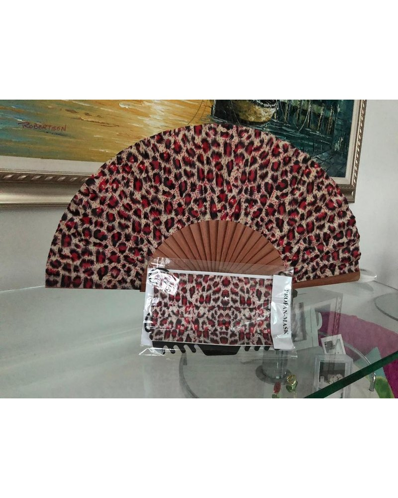 abanico animal print rojo