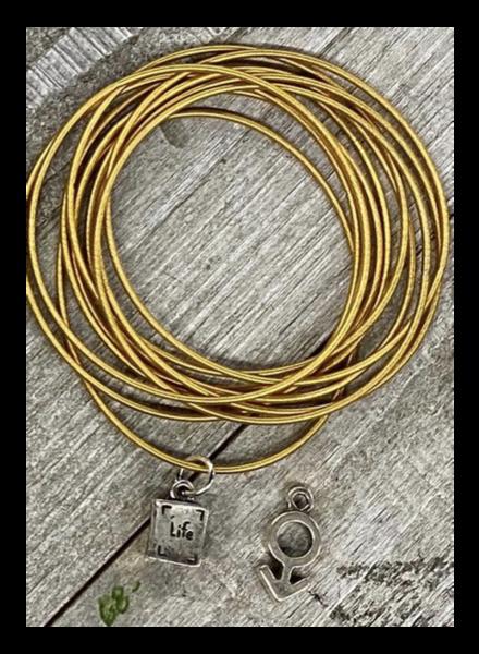 Dark Gold Wire Bracelet Free charm