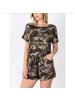 CAMOUFLAGE SHORT SLEEVE ROMPER WITH POCKET