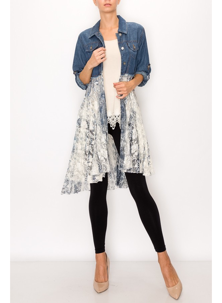 DENIM SHIRT WITH PRINTED LACE LAYER
