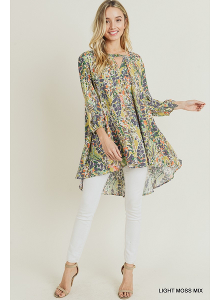 Watercolor Floral Print Keyhole Tunic with Pockets
