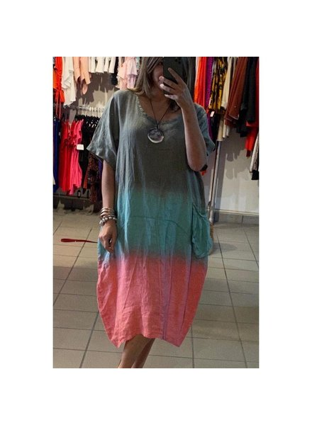 Tie Dye Dress linen(44busto)