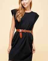 Puff Shoulder Cotton Jersey Mini Dress