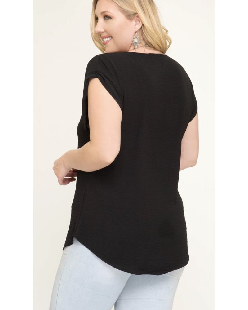 DROP SHOULDER WOVEN TOP WITH FRONT ZIPPER AND SLEEVE BAND DETAIL