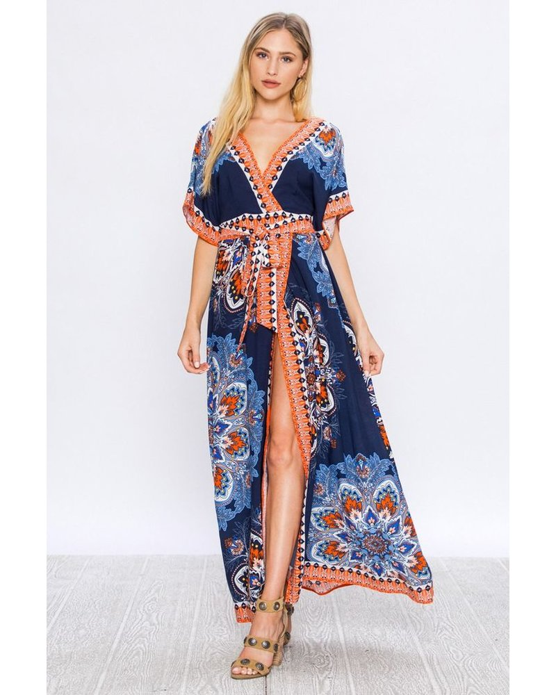 MAXI WRAP DRESS WITH ARABESQUE PATTERN