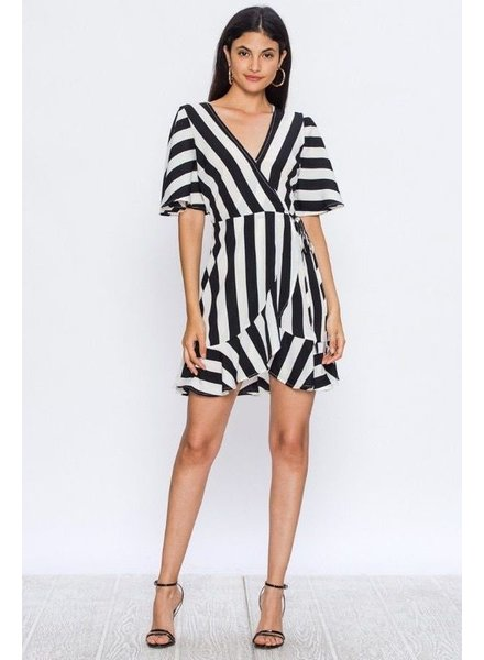 * SILKY MINI WRAP DRESS WITH STRIPE PRINT