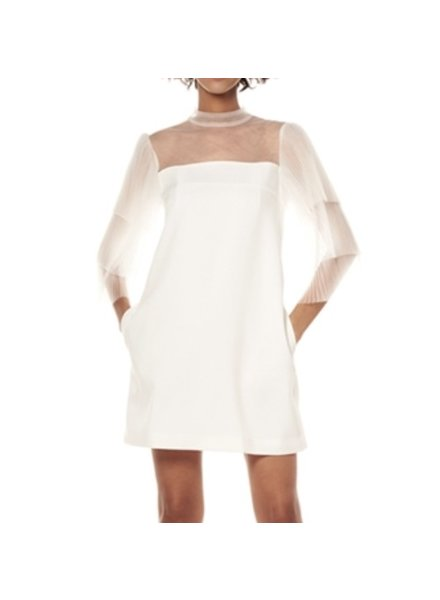 Pleats lace sleeve dress