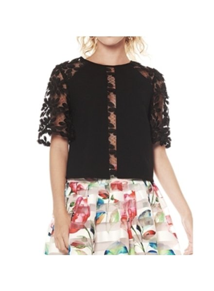 Paneled leaf lace top