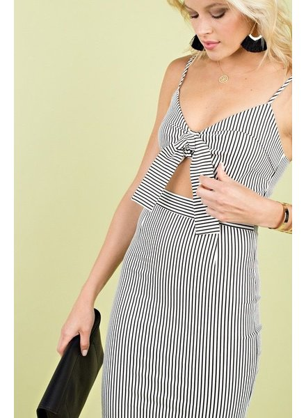 STRIPE PRINT TIE FRONT BRA CAMI MINI DRESS