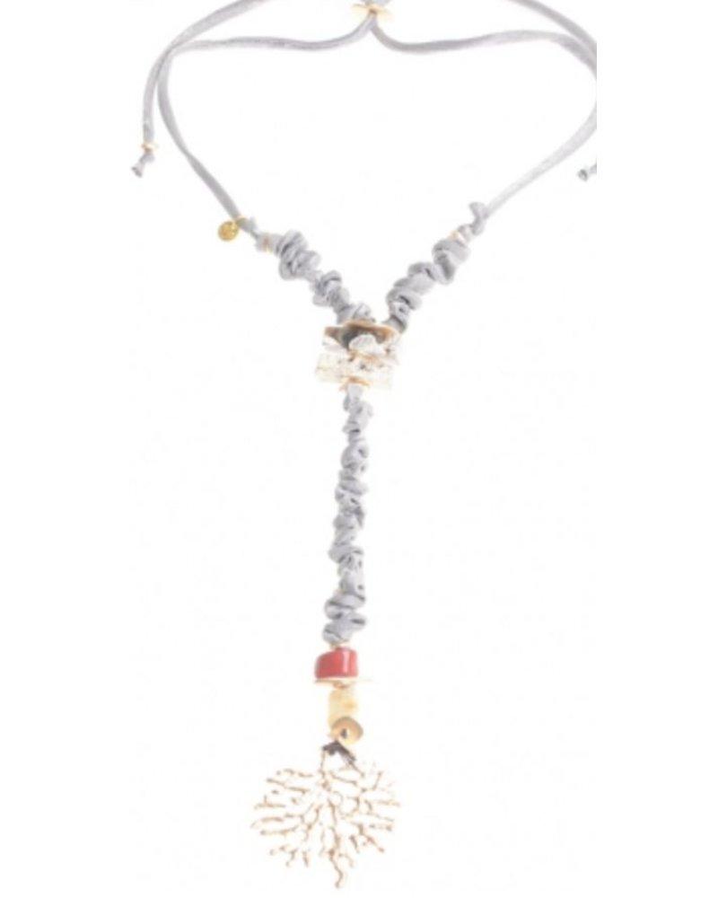 Collar largo cordon piedras colgante coral metal