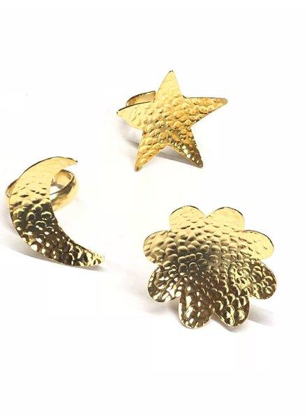 star, moon, flower gold ring