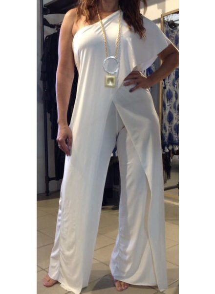 one shoulder Jumpsuit White or Royal