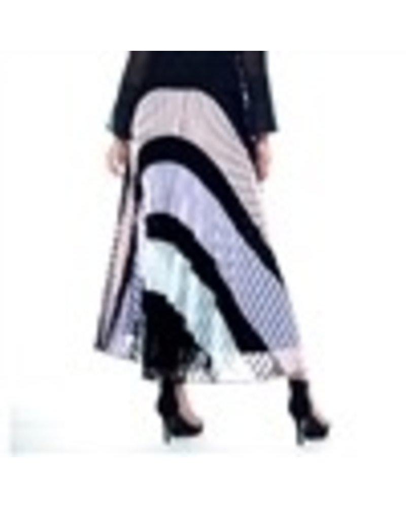 color blocked lace pleats skirt