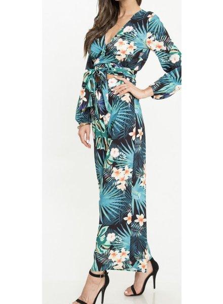 Jumpsuit Tropical Print