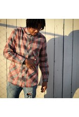 Fried Rice Red Flannel Long Shirt (Japanese Fabric)