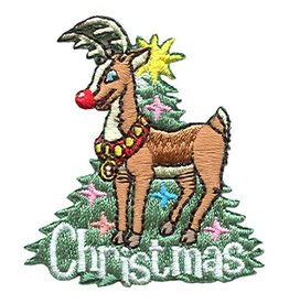 Advantage Emblem & Screen Prnt Christmas Rudolph Reindeer Fun Patch
