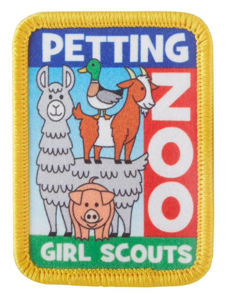 GIRL SCOUTS OF THE USA Petting Zoo Llama Goat Pig Duck Iron-On Fun Patch