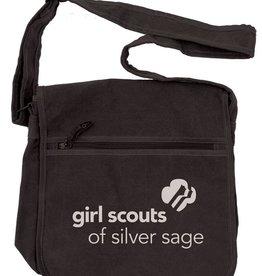 Outfit Your Logo Silver Sage Canvas Messenger Bag Black