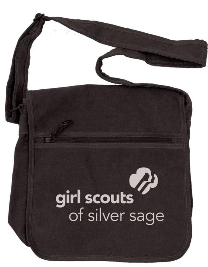 Outfit Your Logo Silver Sage Canvas Messenger Bag Black