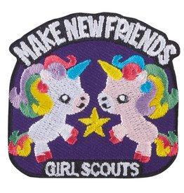 GIRL SCOUTS OF THE USA Make New Friends Unicorns Iron-On Fun Patch
