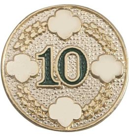 GIRL SCOUTS OF THE USA 10 Year Award Pin