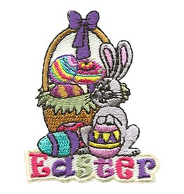 Advantage Emblem & Screen Prnt Easter Bunny with Basket Fun Patch
