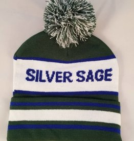 Outfit Your Logo Silver Sage Blue Green Pom Pom Beanie Hat