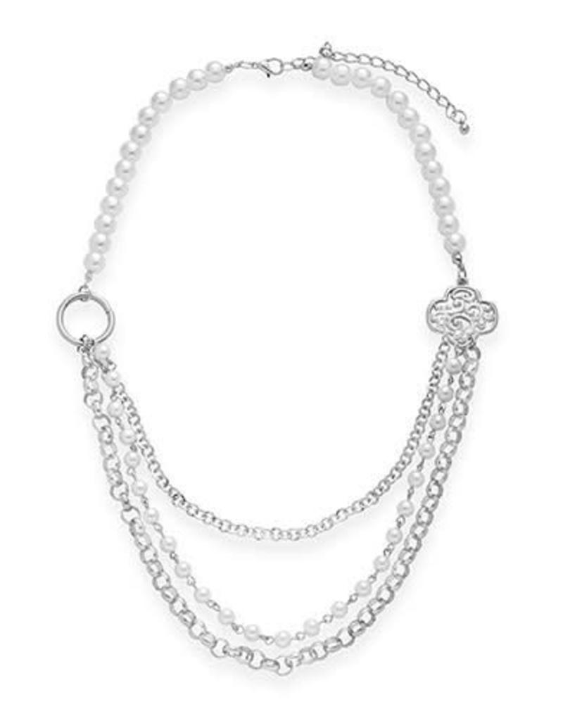 GIRL SCOUTS OF THE USA Filigree Trefoil & Pearl Layered Necklace