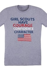 GIRL SCOUTS OF THE USA Courage Confidence Character American Flag Tee Shirt 12DOC