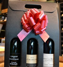 Burgundy 3 Bottle Gift Box