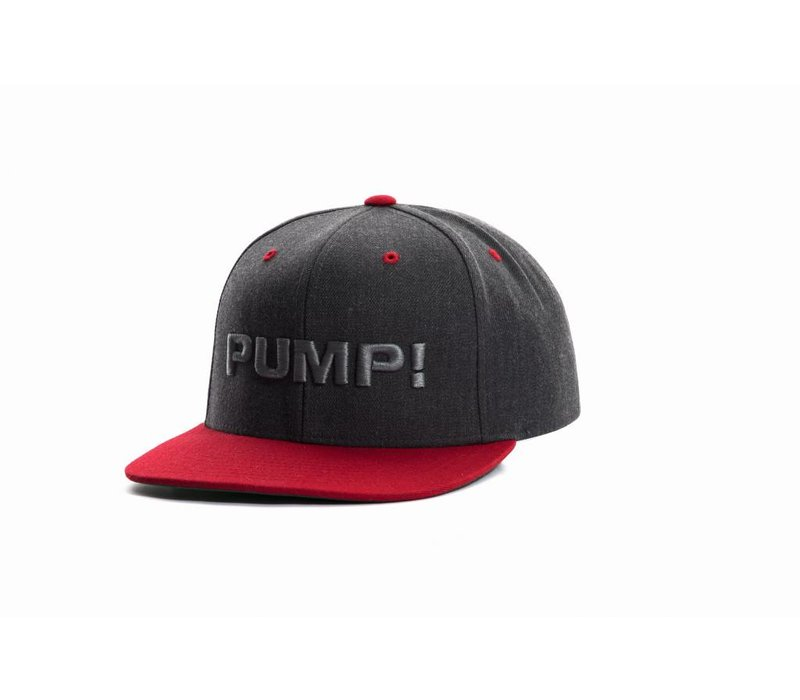 Charcoal and Red Snapback