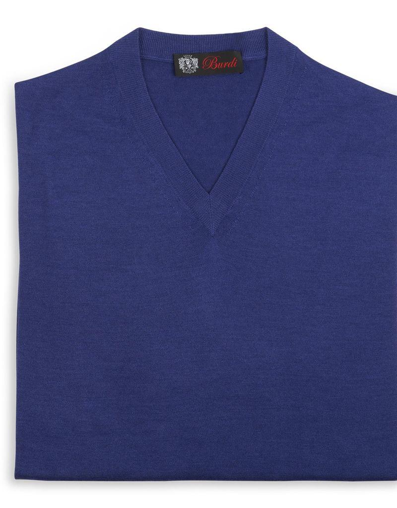 Cashmere / Silk V Neck Sweater, Cobalt