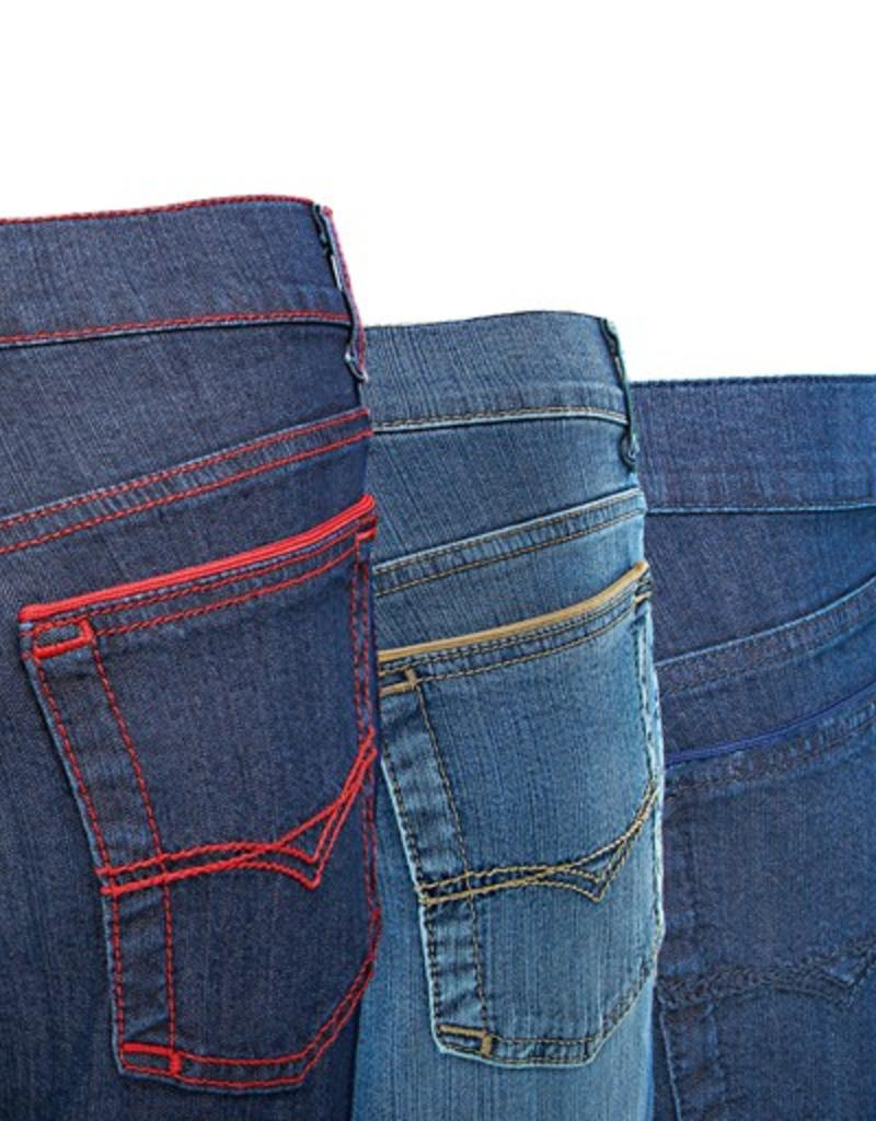 Stretch straigt leg jeans with contrast stitching