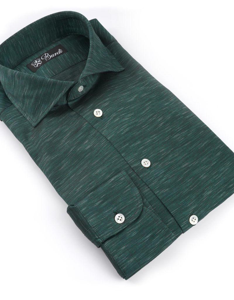 Jersey Knit Cotton Shirt, Forest Green