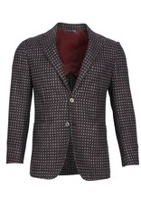 Inclusivo Unstructured Honeycomb Tweed Jacket - Gray & Red