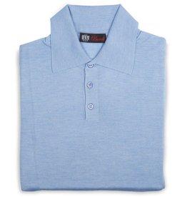 Cashmere / Silk Polo Sweater, Lt. Blue