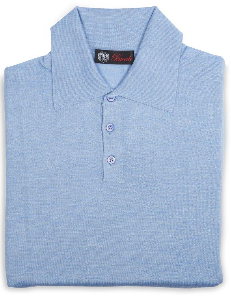 Cashmere Silk Polo Sweater Lt Blue Burdi