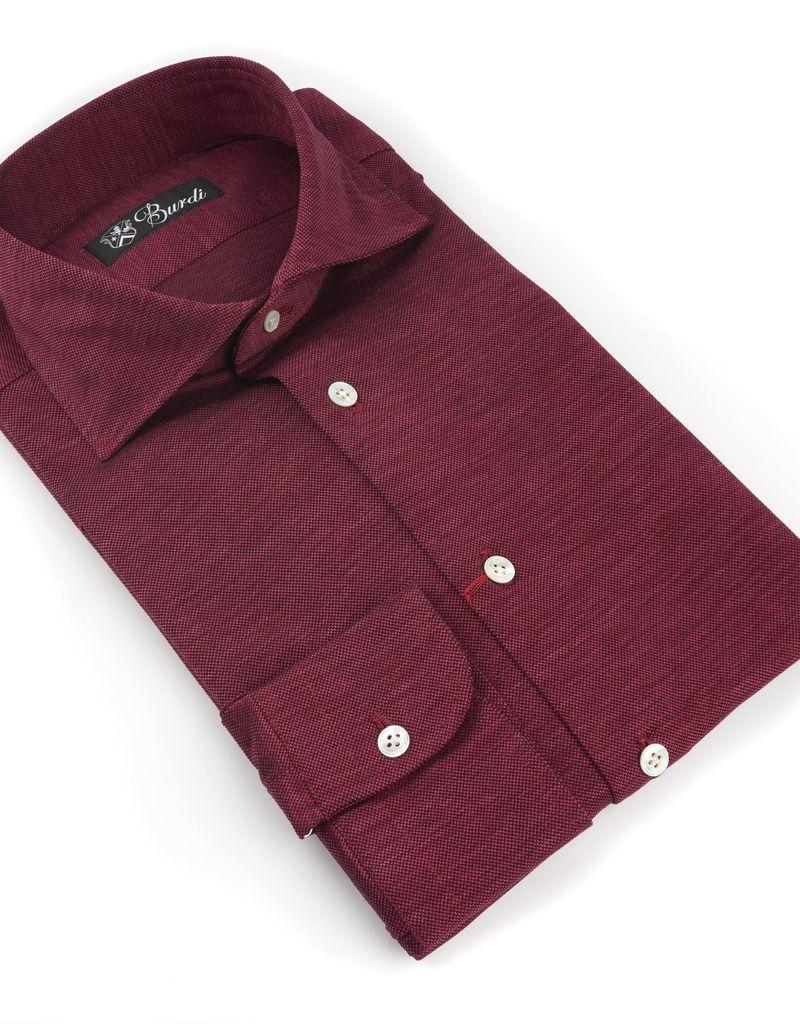 Jersey Knit Cotton Shirt, Berry