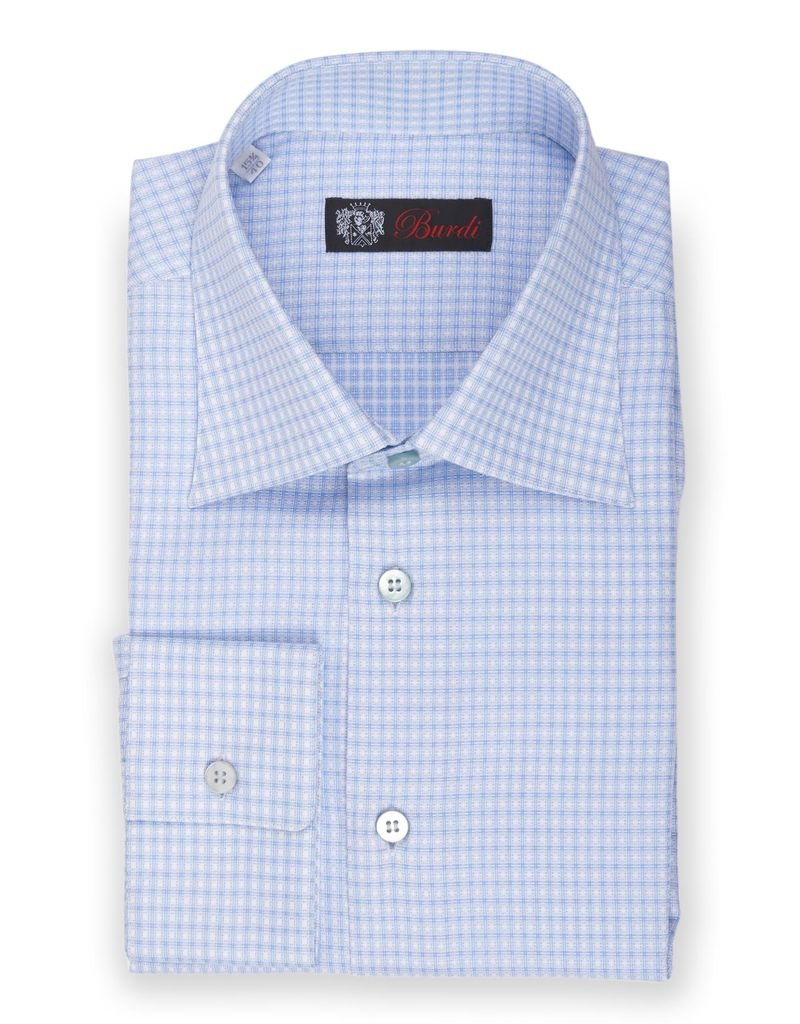 Powder Blue and White Tattersall Shirt