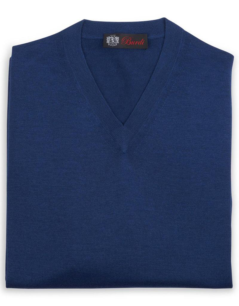 Cashmere / Silk V Neck Sweater, Royal Blue